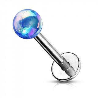 Piercing labret perle teinte métallisée - Bleu (lèvre, cartilage)
