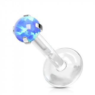 Piercing labret tige bioflex à opale griffée - Bleu