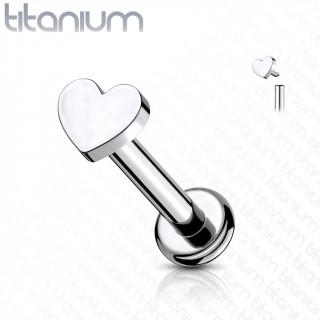 Piercing labret Titane Coeur à filetage interne