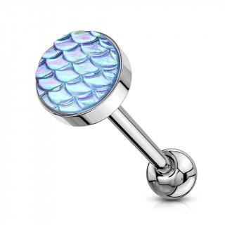 Piercing langue acier à écailles bleu aqua