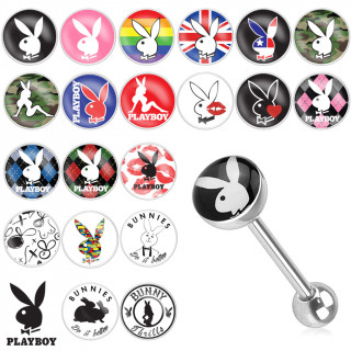 Piercing langue avec logo Playboy