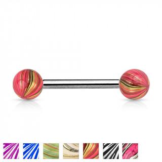 Piercing langue barbell à boules plaquées IP marbrées à aspect nacré