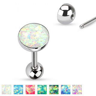 Piercing langue barbell en acier à boule et opale synthétique