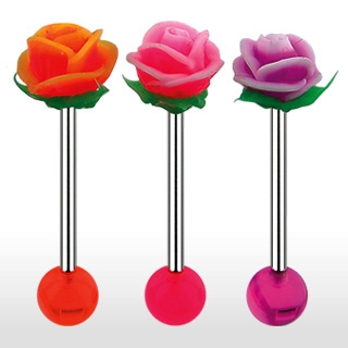 Piercing langue boule et rose en silicone
