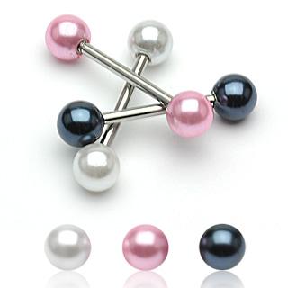 Piercing langue boules perlées