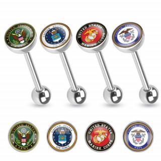 Piercing langue en acier avec extrémité à motif emblème armée