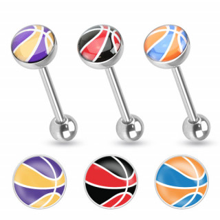 Piercing langue en acier avec logo ballon de basket-ball