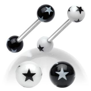 Piercing langue imprimés étoiles