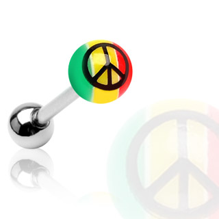 Piercing langue Rasta Jamaïque Peace and love