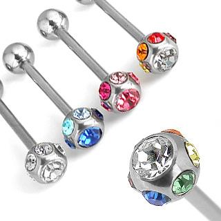 Piercing langue multiples cristaux