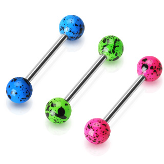 Piercing langue oeuf fluo
