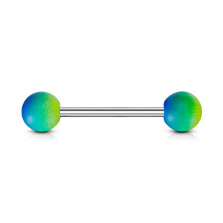 Piercing langue à revêtement en caoutchouc - bleu, vert et jaune