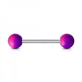 Piercing langue à revêtement en caoutchouc - rose et violet