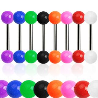 Piercing langue titane G23 à boules acrylique colorées