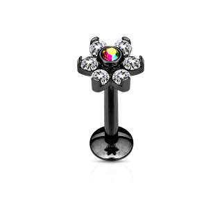Piercing labret fleur noire à strass clairs et gemme aurore boréale centrale