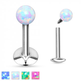Piercing lèvre labret en acier à boule en Opale synthétique