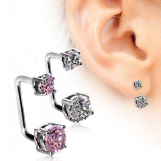 Piercing lobe oreille loop à embouts avec strass