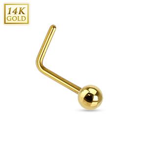 """Piercing nez à boule en or jaune 14 carats à tige en """"L"""""""