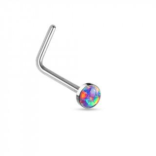 """Piercing nez acier en """"L"""" à Opale synthétique pourpre"""