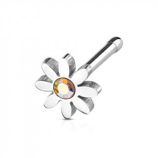 Piercing nez acier fleur pâquerette à strass aurore boréale