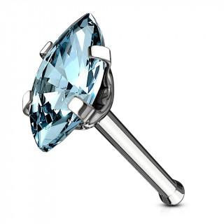 Piercing nez acier à zirconium taillé en marquise - Bleu aqua