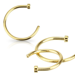 Piercing nez anneau acier doré par ionisation