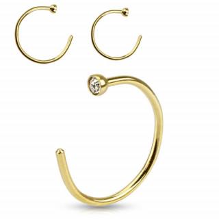 Piercing nez anneau en acier doré avec pierre claire