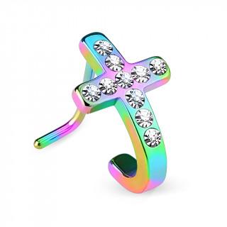 Piercing nez arc en ciel en acier à croix courbée pavée de strass