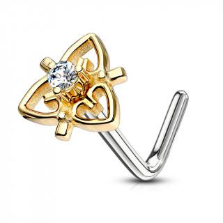 Piercing nez à coeurs disposés en triangle - Tige L - Doré