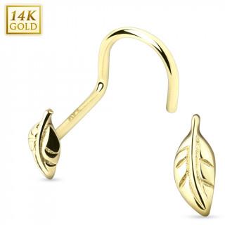 Piercing nez courbé en or jaune 14 carats avec feuille
