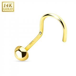 Piercing nez crochet en or jaune 14 carats avec dome