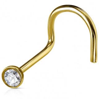 Piercing nez doré tige courbée en acier à cristal