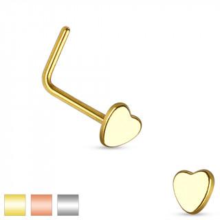 Piercing nez en acier à tige en L avec embout coeur
