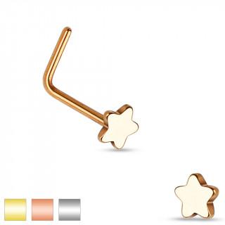 Piercing nez en acier à tige en L avec embout étoile
