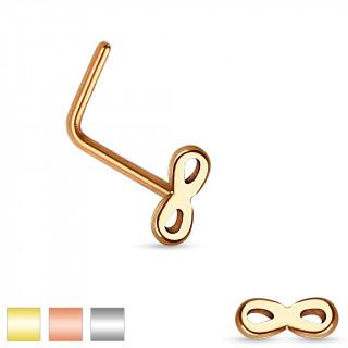 Piercing nez en acier à tige en L avec embout symbole de l'infini