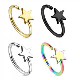 Piercing nez en anneau avec étoile à 5 branches