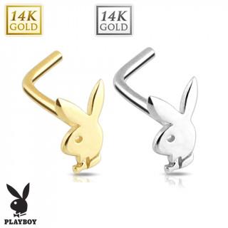 """Piercing nez en """"L"""" en or 14 carats avec lapin playboy"""