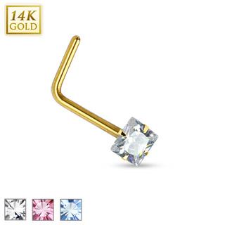 """Piercing nez en or jaune 14 carats à tige en """"L"""" et pierre carrée"""
