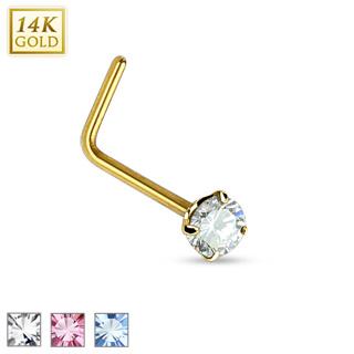 """Piercing nez en or jaune 14 carats à tige en """"L"""" et pierre ronde"""