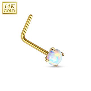 """Piercing nez en or jaune 14 carats avec Opale de synthèse et tige en """"L"""""""