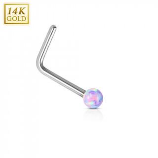 Piercing nez or blanc 14 carats avec Opale synthétique pourpre