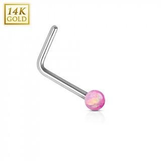 Piercing nez or blanc 14 carats avec Opale synthétique rose