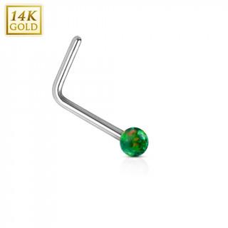 Piercing nez or blanc 14 carats avec Opale synthétique verte