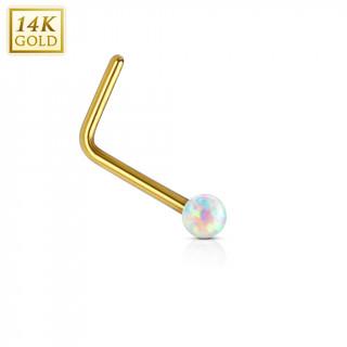 Piercing nez or jaune 14 carats avec Opale synthétique blanche