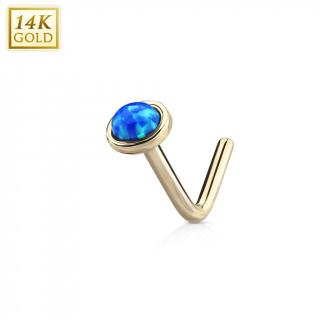 """Piercing nez or jaune 14 carats à Opale bleue - tige """"L"""""""