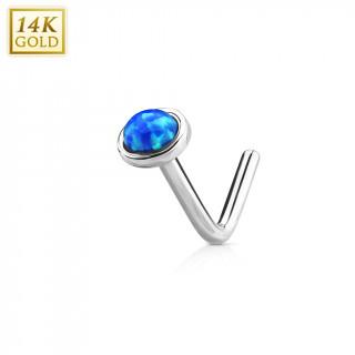 """Piercing nez or blanc 14 carats à Opale bleue - tige """"L"""""""