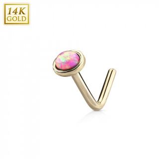 "Piercing nez or jaune 14 carats à Opale rose - tige ""L"""