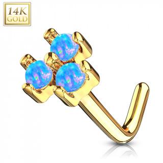 Piercing nez or jaune 14 carats tige L à trio d'Opales bleues