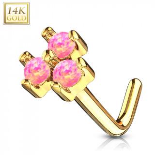 Piercing nez or jaune 14 carats tige L à trio d'Opales roses