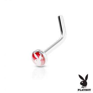 """Piercing nez Playboy rouge à tige en """"L"""""""